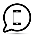 bubble with smartphone icon vector image