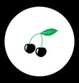 Cherries fruit simple black and green icon eps10