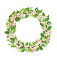Cherry flowers and leaves wreath beautiful