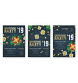 christmas 2019 party invitation posters vector image vector image
