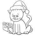 christmas cat cartoon coloring book vector image vector image