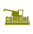 combine harvester logo sign farm machine for vector image vector image