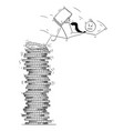 conceptual cartoon bankruptcy businessman falling vector image