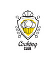 Cooking club logo design heraldic shield with