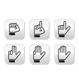 Counting hand signs - buttons isolated vector image