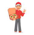 courier man in red uniform handsome delivery man vector image