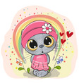cute cartoon cat with rainbow vector image vector image