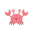 cute crab isolated element sea animals character vector image