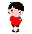Cute little Boy with Red Heart isolated on white vector image vector image