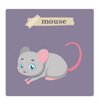 cute mouse on purple background vector image vector image