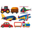 different types of transportations on white vector image vector image