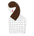 drawing a brunette woman vector image vector image
