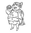 fat man with burger vector image vector image