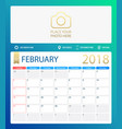 february 2018 calendar or vector image vector image