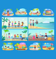 freelancers work all around world in comfort set vector image vector image