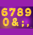 glowing lamp signs for circus movie etc vector image vector image