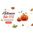 halloween sale with pumpkin vector image