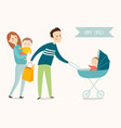happy family poster cartoon eps 10 vector image