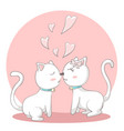 happy valentines day with couple cats kissing vector image vector image