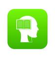 head with open book icon digital green vector image vector image