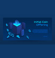 isometric ico concept banner vector image vector image