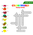 kids crossword with eight different flat fruits vector image vector image