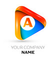 letter a symbol in the colorful triangle vector image