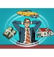 man dream house money car vector image