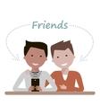 Men Friends are Watching in Smartphone vector image vector image
