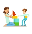 Mom Playing Blocks With Her Son Loving Mother vector image