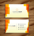 orange pixilated business card vector image vector image