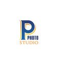 p letter icon for photo studio vector image vector image