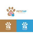 paw and click logo combination pet and vector image
