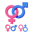 pink and blue gender symbol isolated on white vector image