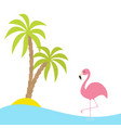 pink flamingo standing on one leg two palms tree vector image vector image