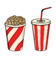 popcorn and soda design element for poster card vector image