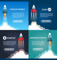 rocket ship launch landings vector image