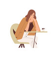 sad thoughtful woman sitting at table in cafe vector image vector image