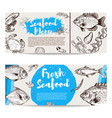 seafood flyer template fish shrimps oyster vector image