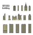 Set of pixel building skyscraper vector image