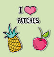 set tropical patches fruit design vector image vector image