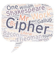 Shakespeare Cipher Stories Part 1 text background vector image vector image