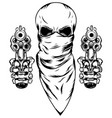 skull in mask with two revolvers vector image vector image