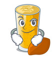 smirking lassi mango in a cartoon bottle vector image vector image