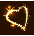 Sparkling heart on dark background vector image