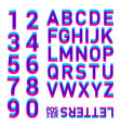 stereo alphabet stereoscopic letters and numbers vector image vector image