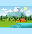 summer camping paper cut vector image vector image