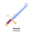 sword flat icon vector image vector image