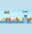 travel suitcases on baggage conveyor belt vector image vector image