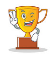 two finger trophy character cartoon style vector image
